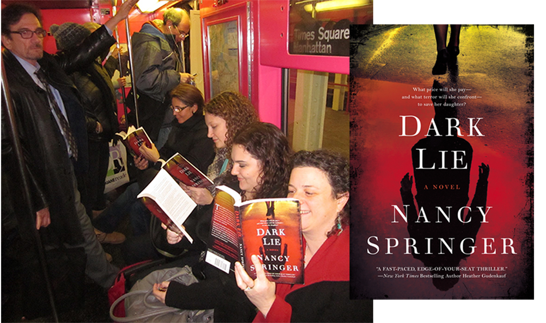A NYC blog group is riding the subway while reading Nancy Springer's Dark Lie